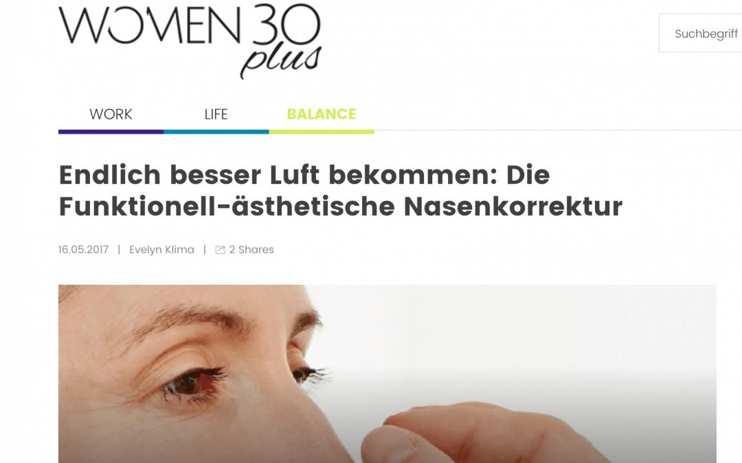 Artikel über funktionell-ästhetische Nasenkorrekturen auf women30plus.at