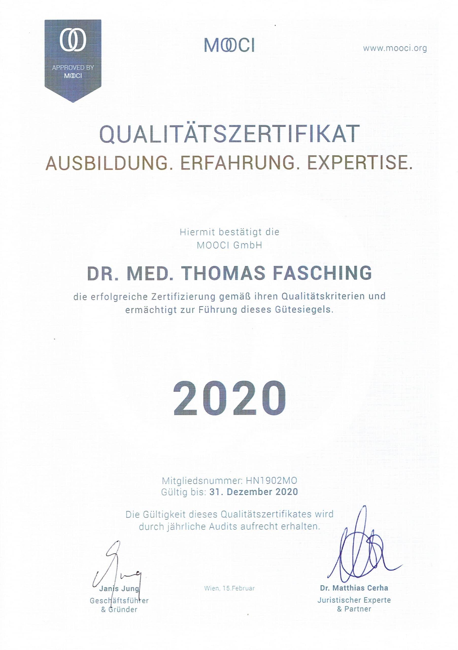 MOOCI Qualitätszertifikat